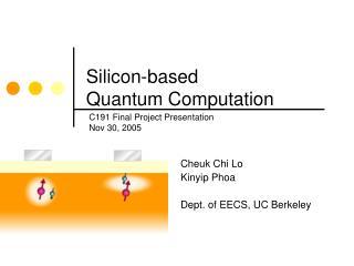 Silicon-based  Quantum Computation