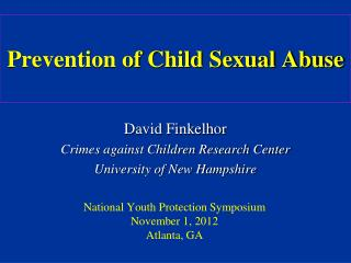 Prevention of Child Sexual Abuse