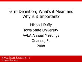 Farm Definition; What s it Mean and Why is it Important