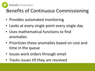 Benefits of Continuous Commissioning