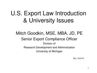 U.S. Export Law Introduction  University Issues