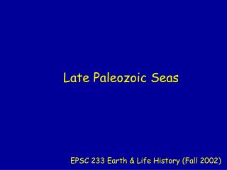 Late Paleozoic Seas