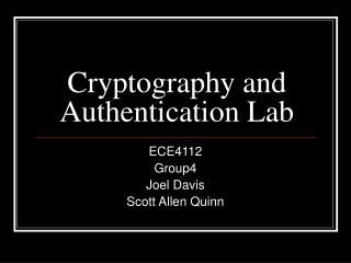 Cryptography and Authentication Lab