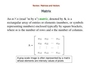 Review: Matrices and Vectors