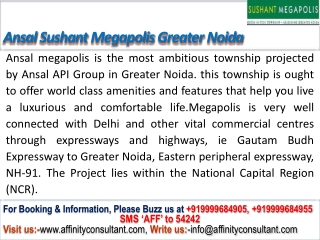 Ansal Sushant Megapolis City Greater Noida @ 9999684905