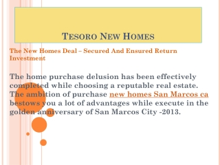 The new homes deal � secured and ensured return investment