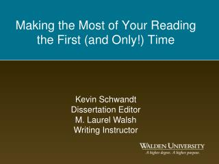 Making the Most of Your Reading the First and Only Time