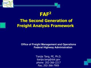 FAF2  The Second Generation of  Freight Analysis Framework