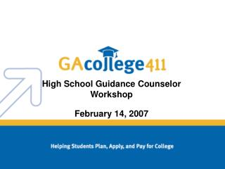 High School Guidance Counselor Workshop
