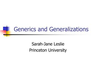 Generics and Generalizations