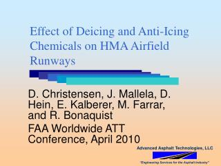 Effect of Deicing and Anti-Icing Chemicals on HMA Airfield Runways