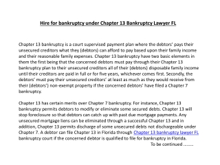 Hire for bankruptcy under Chapter 13 Bankruptcy Lawyer FL