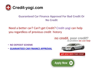 Guaranteed Car Finance No Credit Check