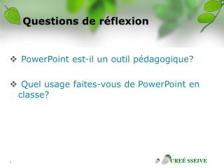 Questions de r flexion
