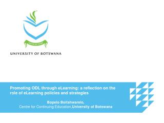Promoting ODL through eLearning: a reflection on the role of eLearning policies and strategies