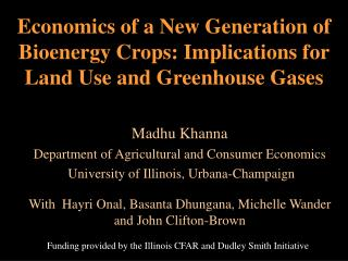 Economics of a New Generation of Bioenergy Crops: Implications for Land Use and Greenhouse Gases