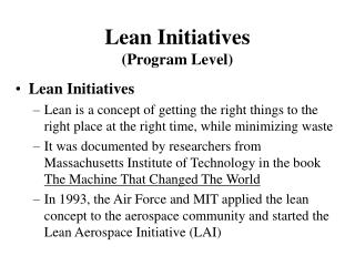 Lean Initiatives Program Level