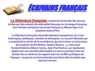 CRIVAINS FRAN AIS