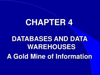 Chapter 4 - Data Warehouses
