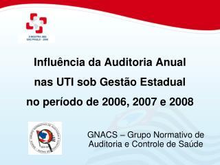 Influ ncia da Auditoria Anual nas UTI sob Gest o Estadual no per odo de 2006, 2007 e 2008