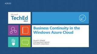 Business Continuity in the Windows Azure Cloud