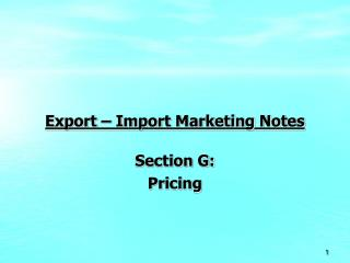 Export   Import Marketing Notes