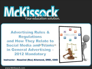 Advertising Rules  Regulations and How They Relate to Social Media and Teams in General Advertising   2012 Mandatory