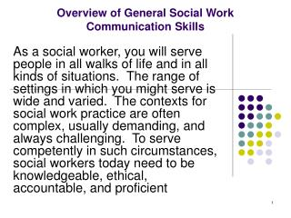 Overview of General Social Work  Communication Skills