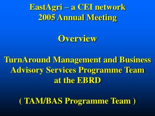 EastAgri   a CEI network 2005 Annual Meeting  Overview  TurnAround Management and Business Advisory Services Programme T