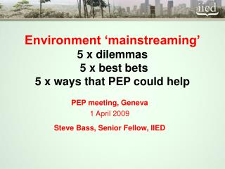 Environment  mainstreaming   5 x dilemmas  5 x best bets  5 x ways that PEP could help