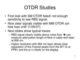 OTDR Studies