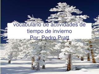 Vocabulario de actividades de tiempo de invierno Por: Pedro Pratt