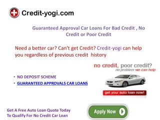 Guaranteed Car Loans Approval