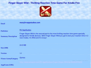 Finger Slayer Wild - Thrilling Reaction Time Game For Kindle