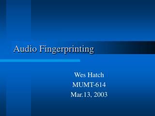 Audio Fingerprinting