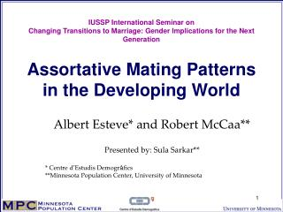Assortative Mating Patterns in the Developing World