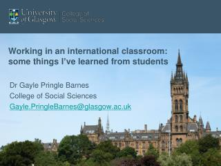 Working in an international classroom: some things I ve learned from students
