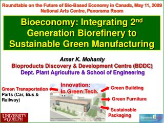 Bioeconomy: Integrating 2nd  Generation Biorefinery to Sustainable Green Manufacturing