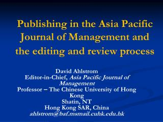 Publishing in the Asia Pacific  Journal of Management and the editing and review process
