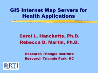 GIS Internet Map Servers for Health Applications