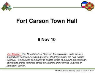 Fort Carson Town Hall   9 Nov 10