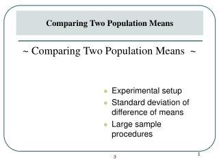 Experimental setupStandard deviation of difference of meansLarge sample procedures