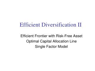 Efficient Diversification II