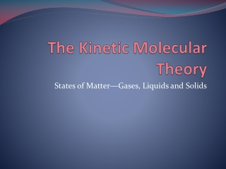 Kinetic Theory  Solids