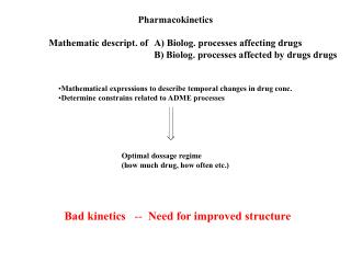 Mathematic descript. of  A Biolog. processes affecting drugs     B Biolog. processes affected by drugs drugs