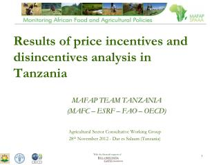 Results of price incentives and disincentives analysis in Tanzania