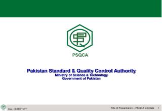Pakistan Standard  Quality Control Authority Ministry of Science  Technology Government of Pakistan