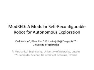 ModRED: A Modular Self-Reconfigurable Robot for Autonomous Exploration