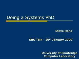 Doing a Systems PhD