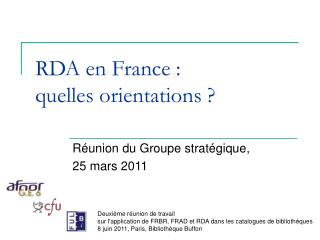 RDA en France : quelles orientations
